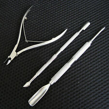 Nail Cuticle Spoon Pusher Remover Cutter Nipper Clipper Cut Set Stainless Steel