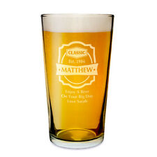 Personalised Beer Pint Glass 18th 21st ( any age ) Birthday Gift for Him Larger