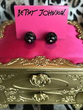 Betsey Johnson Black Lucite Rosebud Rose Print Pink Crystal Ball Stud Earrings