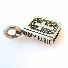 .925 Sterling Silver 3-D HOLY BIBLE CHARM NEW Pendant Dove Cross Faith 925 FA23