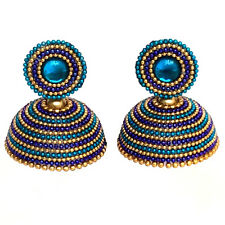 Town Of Trinkets silk thread indian designer earring ,jhumka  multicolour
