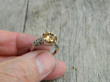 VINTAGE STERLING SILVER ROUND CITRINE SOLITAIRE RING SIZE 7.5