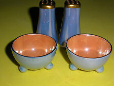 LUSTERWARE French Blue and Orange Porcelain Salt Cellars-or Dips and Shaker Set