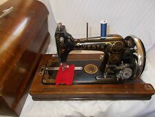 Pretty Little Vintage VESTA Saxonia Sewing Machine SERVICED Wooden case c1933