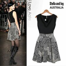 AU 8 women cocktail party skater dress black geometric