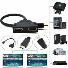 NEW HDMI Male To 2 HDMI Female 1 In 2 Out Splitter Cable Adapter Converter UKF