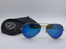RAYBAN 3025 RB3025 AVIATORS 112/17 BLUE MIRRORED  AVIATORS GOLD FRAME