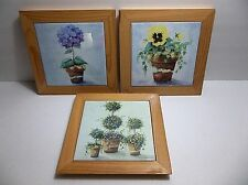 Vintage Wood Framed Art Tile Set HYDRANGEAS Pansies TOPIARY Wood Framed