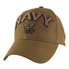 U.S. NAVY Insignia Hat - USN Coyote Brown Baseball Cap 6640