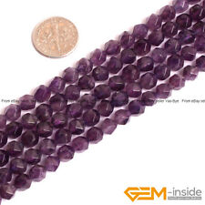 """6mm Natural Amethyst Gemstone Faceted Polygonal Beads For Jewelry Making 15"""""""