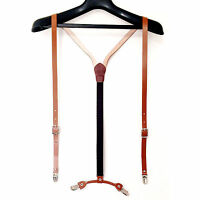 Mens Womens Leather Suspenders Y-Back Retro Braces Clip-On Leather Cowhide Brown