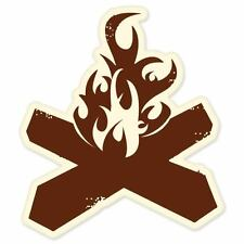 "Campfire hiking vinyl window bumper sticker 4"" x 4"""