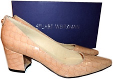 $398 Stuart Weitzman Classic Pointy Toe Block Heel Pump Beige Patent Shoes 7.5
