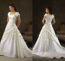 Modest Satin Bridal Gown Handmade Flowers Wedding Dress Custom Size 6 8 10 12 14
