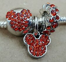 Disney RED Crystal MICKEY MOUSE All Around CZ Head Icon European Beads Charms