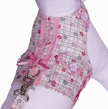 Cha Cha Couture Size Large Pink Daisy Paws Vest Dog Harness Leash