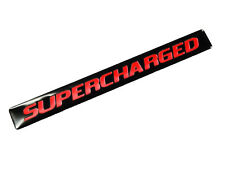 2 SUPERCHARGED SUPER CHARGED ENGINE FENDER HOOD EMBLEMS BADGE BLACK RED PAIR