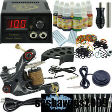 Beginner Tattoo Machine Gun Kit One Motor Power Supply Pigment Ink Set_TA002