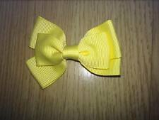 2 X 3 INCH YELLOW DOUBLE BOW WITH ALIGATOR CLIP ADDED PERFECT GIFT UK SELLER