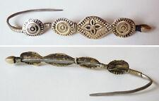 Broche boucle d' oreille fibule en argent massif silver 19e s Afrique ethnique
