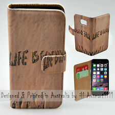 Wallet Phone Case Flip Cover for iPhone 6 Plus / 6S Plus - Life is Good Sand