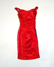 Barbie Doll Sized Fashion Red Charmeuse Cocktail Dress  For Barbie Dolls nv2