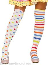 Ladies Spotty Striped Clown Circus Rainbow Fancy Dress Costume Stockings Socks