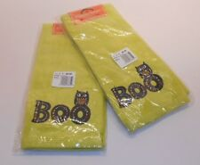 2 Boo Owl Embroidered Green Cotton Hand Towels, Midnight Market Halloween Kohl's