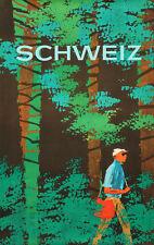 Original Vintage Poster Schweiz Swiss Travel Switzerland Nature Forest Hike 1960