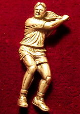 Detailed Pewter Tennis Player Brooch Pin  Signed