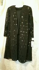 DONNA RICCO BLACK DRESS WITH SHEER SEQUINED JACKET SIXE 18 NWT! ORIGINAL $258
