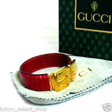 Auth Old GUCCI Red Embossed Leather Bangle Bracelet Goldtone Made Italy in Box