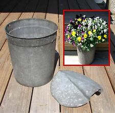 Vintage VERMONT Galvanized Sap Bucket w/ Cover~Country-Rustic-Spring~Steampunk!