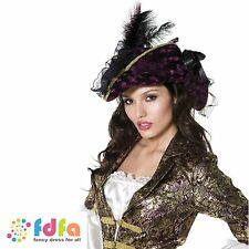 FEVER PURPLE MARAUDING PIRATE HAT + FEATHERS ladies womens fancy dress costume