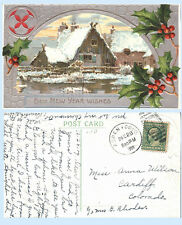 Embossed Best New Year Wishes Greeting Card 1909 Postcard