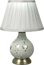 Gorgeous Floral Grey Ceramic Bedside / Table Lamp With Shade
