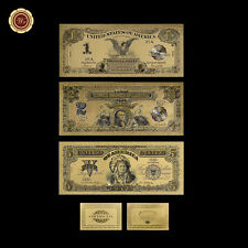 1899 Series Us Silver Certificates $1, $2, $5 Indian Chief 24K Gold Banknote Set