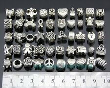 50pcs Lots Mix Tibetan Silver Charm Beads Fit European Bracelet FreeShip ZY026