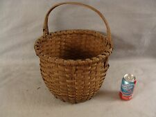 Antique Shaker woven ash swing handle splint gathering basket