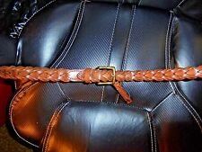 "New Men's Ralph Lauren $125 Cognac Brown Leather Thick Braided 1"" Belt Size 38"