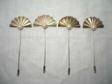 SET OF 4 RODIER ANTIQUE / VINTAGE SILVER HAT PINS - CLAM SHAPE