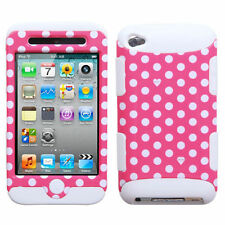 For iPod Touch 4th Gen - Pink Polka Dot Hard&Soft Rubber Dual Layer Hybrid Case