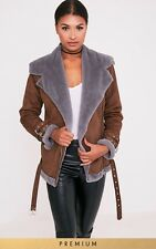 ��✨Pretty Little Thing Faux Fur Suede Brown Aviator Pilot Jacket