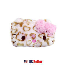 Sanrio Hello Kitty Leopard Cosmetic Pouch Multi Purpose Case with Bow : Pink