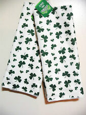 ST PATRICKS DAY PAIR OF HAND KITCHEN TOWELS FESTIVE TOWELS HOME DECOR IRISH PUB.