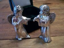 Angel Salt & Pepper Shakers Silver Treasures By Godinger- Original Velvet Box