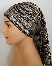 New!!! CHEMO Tube SCARF Black and Gold ALOPECIA Cancer Hat Cap Turban HEADCOVER