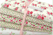 Fat Quarter Bundle -  Pink Shabby Chic Florals - Poly Cotton Fabric Remnants