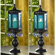 2 Large Lantern Candelabra Beaded Blue Lamp Candle Holder Wedding Centerpieces
