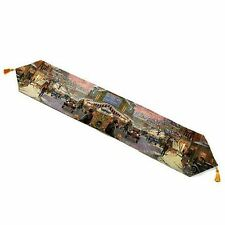 Thomas Kinkade Fiber Optic Table Runner with Tassels -  CHRISTMAS on MAIN STREET